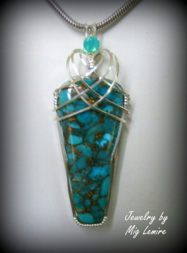 Celtic Mohave Turquoise with Apatite Necklace