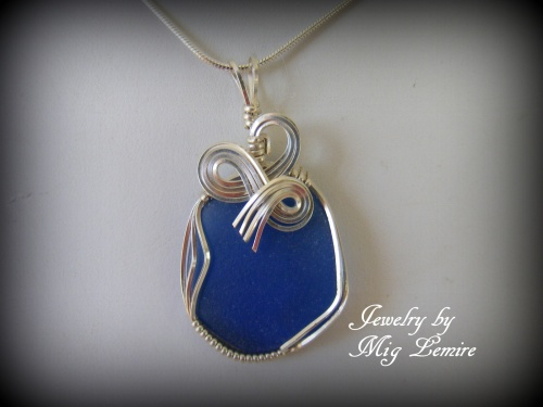 Cobalt Burst Seaglass Jewelry Mig Lemire Wire Wrapping Chain
