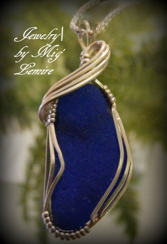 Cobalt Drama Seaglass Jewelry Mig Lemire Wire Wrapping Chain