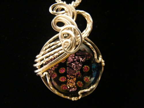 Dichroic Sterling Scroll Pendant